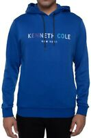 Kenneth Cole Mens Hoodie Blue Size Medium M Iridescent Logo Fleece-Lined $79 049