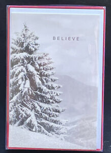 American Greetings New Box of 12 Glittery BELIEVE Cards Christmas and Envelopes