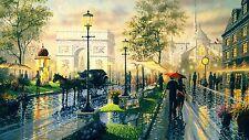 drawing romantic walk paris umbrella romance Photo and Print Canvas Collectors