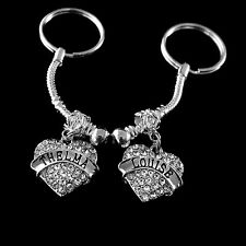 Thelma and Louise keychain set   2 Crystal heart charms   Best Friends gift