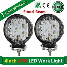 2X 4Inch 27W LED CREE Work Light Round Driving Truck Boat SUV 4DW ATV Flood Lamp