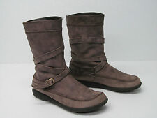DANSKO TAUPE BROWN LEATHER MID-CALF BOOTS BUCKLE Sz WOMEN'S 8.5/39