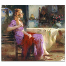 """Pino S/N Embell Stretched Canvas """"Longing For"""" Waiting for someone 32x36 coa"""