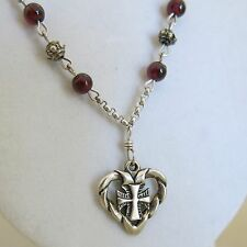 Sterling Heart Cross Pendant & 19 in Sterling Chain Red Glass Beads 11.0g [3258]