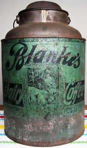 """Rare 1900's Blanke's Dairy Coffee Tin Milk Pail Type Large 12"""" No Other's Found"""