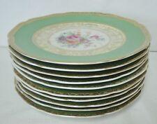 "10 Tirschenreuth tir396 8 1/4"" Luncheon Plates Floral w Green Rim Gold Scrolls"
