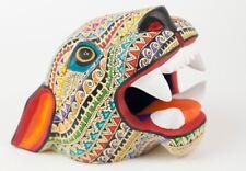 Alebrije Jaguar Head Oaxacan Wood Carving Mexican Folk Art Yellow Sculpture