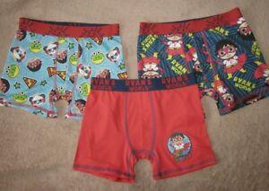 RYAN'S WORLD -  Boys 3pc Underwear Boxer Briefs Shorts Set Boys sz 8