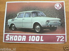 SKODA 100L CAR AUTO PROSPEKT BROCHURE GERMAN LANGUAGE 2 PAGES 1972 ? B