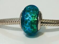 Authentic Michael Hill Blue Green Aqua Foil Murano Glass Charm AS NEW