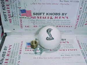 "Ford Cobra,. Engraved 2"" Custom Ford Licenced Shift Knob , White"