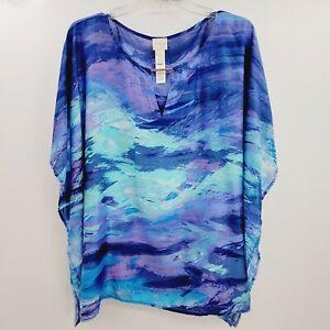Chico's Keyhole Brushstroke Print Swim Cover Up Poncho Sz L/XL Beach Flowy Blue