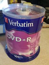 NEW 100 VERBATIM DVD+R 16X 4.7GB 120 Min Media Disc Tape Wrap #95098