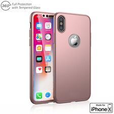 iPhone X Case 360° Full Body Protective Case Cover Skin + Tempered Glass Screen