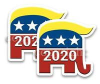 """Trump 2020 Bumper Stickers Republican Elephant with 2020 Decals  3"""" wide 2 pack"""