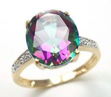 CHARMING 10KT YELLOW GOLD 4CT MYSTIC TOPAZ & DIAMOND RING  SIZE 6.5   R1282