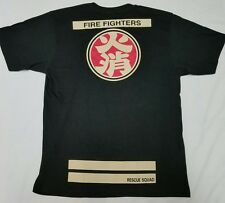 Japan Fire Dept Rescue Hikeshi Japanese Firefighter T-Shirt Mens XL - Black HTG!