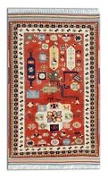 Vintage Hand made Carpet Traditional Rug Oriental Rich Red Wool 140x170cm