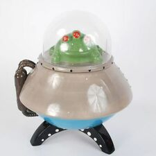 PJ0501 UFO Space Ship Flying Saucer Green Alien LED Eyes Cookie Candy Treat Jar
