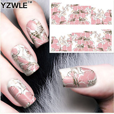 Nail Art Stickers Transfers Decals Pink Flowers (A-87)