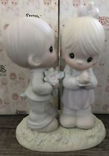 New Precious Moments Love Is From Above Boy Girl Porcelain Figurine 1989