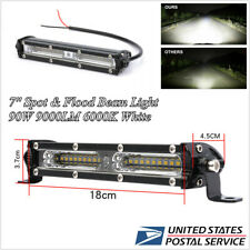 Car SUV 7'' LED Work Light Super Slim Spotlight Bar 6000K Spot Flood Combo Beam