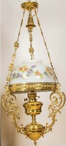 Large Victorian Style Hand Painted Flowers Hanging Oil Lamp Brass Trim GWTW