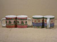 Sakura Yuletide Cups Genuine Stoneware 1996 by Sue Zipkin Set of 4