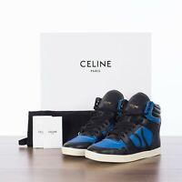 CELINE 790$ Break Mid High Lace Up Sneaker In Black & Blue Calfskin & Lambskin