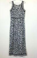 Peter Morrisey Womens Black/White Leopard Print Sleeveless Lined Dress Size 12