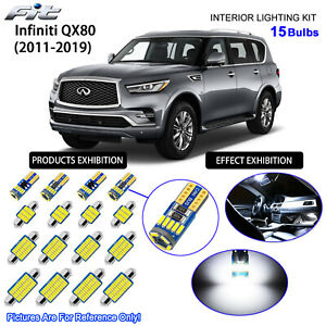 15 Bulbs LED Interior Dome Light Kit Cool White For 2011-2019 Infiniti QX56 QX80
