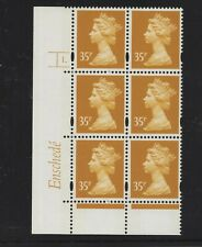 MACHIN ENSCHEDE 35p  CYL 1 RE2 BRIGHT YELLOW  DOT BLOCK OF 6 MNH