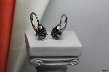 Womens Pear Cut Sterling Silver Mystic Rainbow Fire Topaz Lever Back Earrings