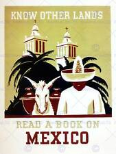 L'éducation mexico read book usa vintage advertising poster retro print 1994PY