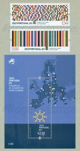 PORTUGAL 2021 PRESIDENCY COUNCIL OF EUROPEAN UNION * 2 STAMPS + 1 BLOCK MNH