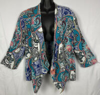 Chico's Womens Linen Open Front Paisley Top Size 3 Blouse Sz XL 3/4 Sleeves NWOT