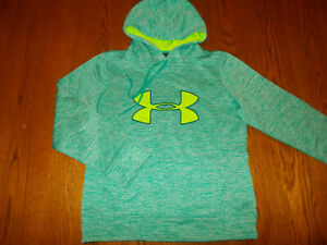 UNDER ARMOUR COLD GEAR AQUA GREEN HOODED SWEATSHIRT WOMENS SMALL EXCELLENT COND.