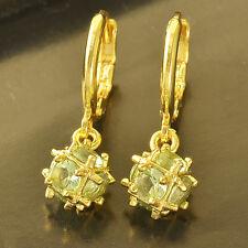 Apple Green CZ 9K Yellow Gold Filled Womens Ball lucky Dangle Earrings lot