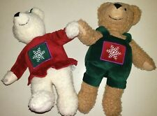 2 Christmas Plush Teddy Bears Male Female Hallmark Snowflakes 10 Inches