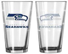 Seattle Seahawks Satin Etch Pint Glass Set of 2 [NEW] NFL Drink Bar Cup Mug 16oz