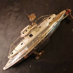 Antique Metal Bing Werke Submarine Boat Wind-Up Toy Nuremberg Bavaria  Germany