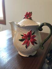 Napcoware Holiday Poinsetta Ceramic Teapot from Japan, Nice!