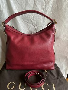 Authentic Gucci Burgundy Leather GG Hobo Bag