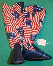 """Sparkle Blue Cowboy Boots with July 4th Flags for 36"""" My Size Barbie Doll MYBT79"""