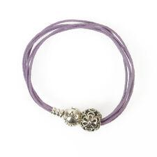 Pandora Silver Charm Purple Rope Cord String Bracelet size S