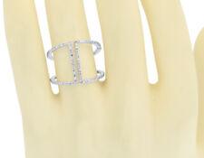 14k White Gold Ladies Round Diamond Open Front Geometric XL Fashion Ring 0.35 ct
