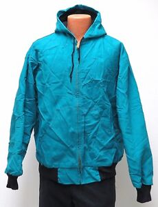 vtg Key Imperial NEON TEAL HOODED CANVAS JACKET 2XL Thermal Lined 90s usa work