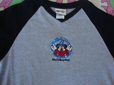 Walt Disney World V Neck MICKEY MOUSE Fantasia raglan jersey Sleeve T Shirt S