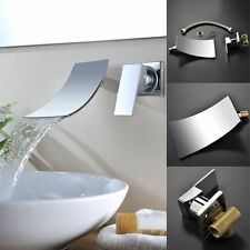 Bathroom 2 Pices Waterfall Wall Mounted Basin Sink Faucet Mixer Taps Toilet ebey