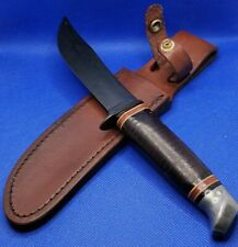 "Vintage Schrade-Walden NY USA 147 4.5"" Fixed Blade Hunter Knife w/Leather Sheath"